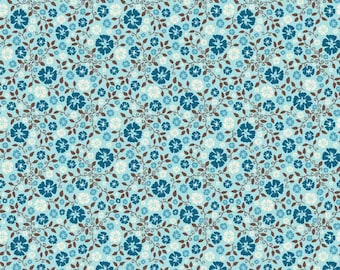 Blue Floral Fabric, Blue Calico Fabric, Riley Blake Roundup C3743 Blue, Floral Quilt Fabric, Blue Flower Fabric, Cotton