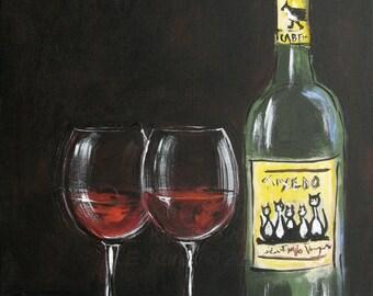 Cat Art - Wine Art - Tuxedo Cat Red Wine - 8x10 Print - Cat Print - Wine Print - Bar Art - Gift Idea for Her - Gift for cat lover
