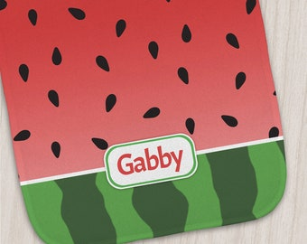 "Watermelon Personalized Burp Cloth for Baby - 12"" x 20"" - Red and Green Design - Made to Order"