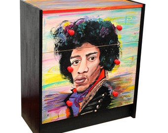 Hand-painted commode Jimi Hendrix unique piece furniture