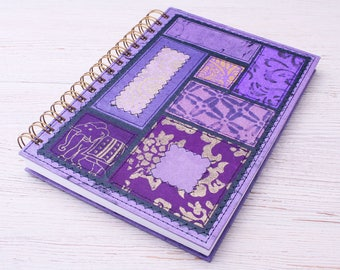 Dot Grid Journal A5 Notebook Bohemian Soul Purple / eco planner / recycled planner / dotted journal / purple planner / purple notebook