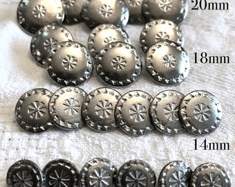 Silver Aztec/ Mayan Metal Buttons, South American, Rustic Silver Button, Metal shanks, Dolls, Jewelry, Western Wear, Size: 20, 18, 14, 11 mm