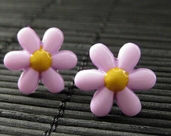 Purple Flower Earrings. Purple Star Flower Earrings with Silver Post Earrings. Flower Jewelry by StumblingOnSainthood. Handmade Jewelry.