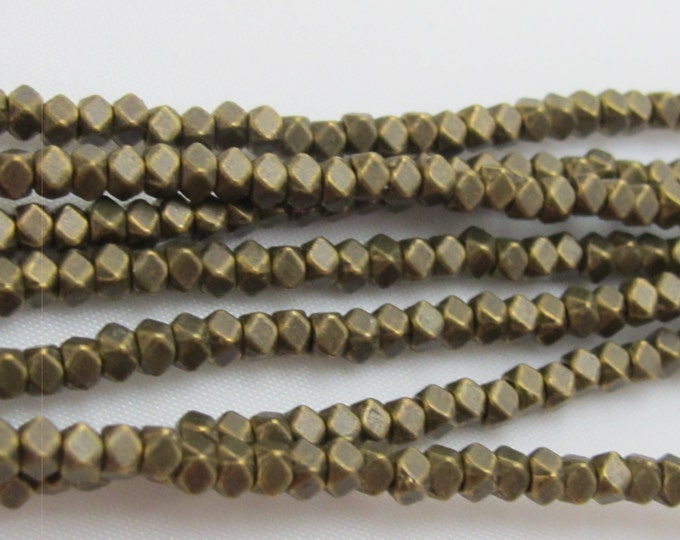 SALE - 1 Full Strand - Small size 3 mm brass tone plated cube metal beads - BD418