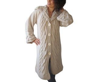 NEW! Ecru Long Hand Knitted Cardigan by Afra