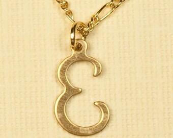 Vintage Letter Inicial Necklace E