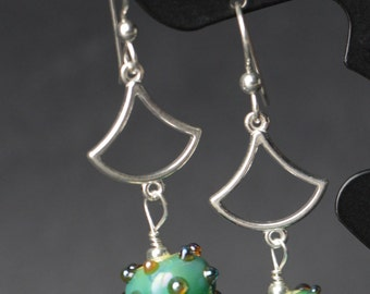 Silver Glass Green  Beaded Lampworking Sterling Silver Earrings