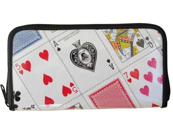 Large zipper wallet made from playing cards, FREE SHIPPING, who likes poker player players bridge loves lovers club solitaire casino vegas