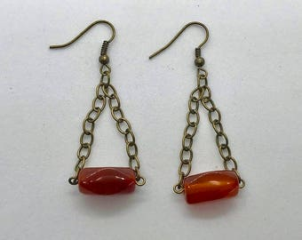 Stone and Chain Dangle Earrings