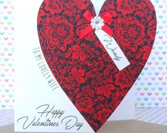Personalised Handmade Valentine's Day Card, Husband, Wife, Girlfriend, Boyfriend