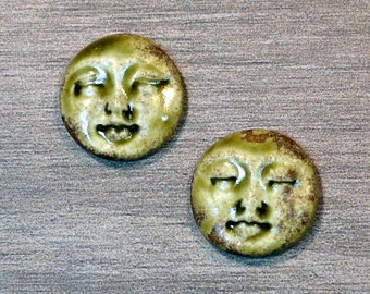 Pair of Two Medium Round Ceramic Face Stone Cabochons in Earthy Green