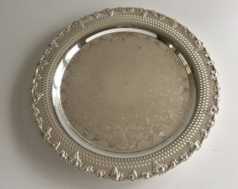 Vintage Silver plated Large Salver / Tray by WM A. Rogers, Old English Reproduction,  Grape and Vine, Pierced Rim, Chased Foliage, EP Copper
