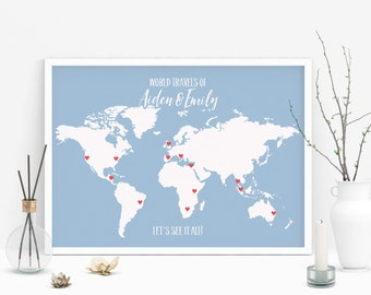 Floral nursery printable world map poster floral map print wedding gift personalized map art push pin world map poster custom map art gumiabroncs Images