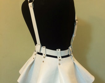 Skirt peplum,leather skirt peplum,vegan leather skirt, leather body harness