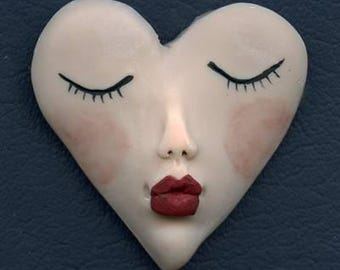 "Polymer Clay Kissing Heart 2"" x 2""   Fleshtone  Art Doll  Face  Cab  FHF 1"