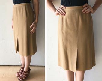 70s high waisted skirt | womens camel skirt | vintage wool skirt  | high waist office skirt