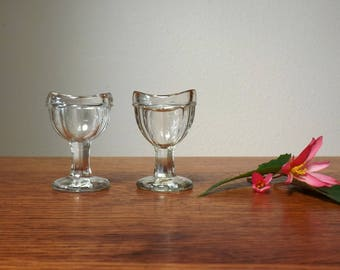 Glass Eye Wash Cups ~ A Pair ~ Vintage Home Medical Device