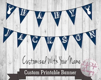 Oh Deer Baby Shower Banner - Rustic Banner - Rustic Baby Shower - Name Banner - Oh Deer Banner - Baby Buck - Baby Shower - Its A Boy