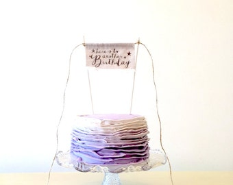 Birthday Cake Topper - Linen Banner Style - Here's To Another Birthday