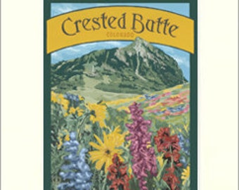 Crested Butte Giclée Art Print: Colorado Series, The Bungalow Craft by Julie Leidel, WPA-Style Poster Art, Arts & Crafts Movement