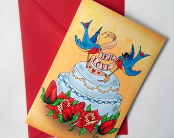Rockabilly Wedding Congratulations card, invitations with Tattoo True Love Swallows