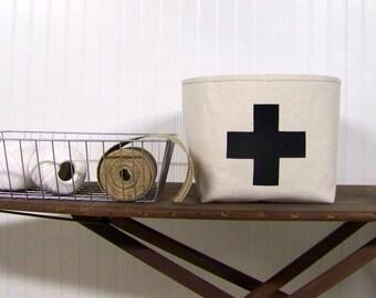 livraison gratuite - swiss cross panier / noir / toile panier / décoration / organisation / panier de rangement / cadeau panier / panier /