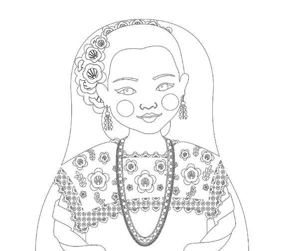 Mexican Yucatan Doll Traditional Dress Coloring Sheet Printable