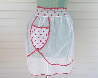 Vintage Sheer White Apron, Red trim, Polkadot, Pocket, Christmas, Valentine's Day, Serving Half apron