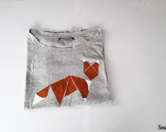 T-shirt hand-painted tangram renard / Tee-shirt tangram of a fox