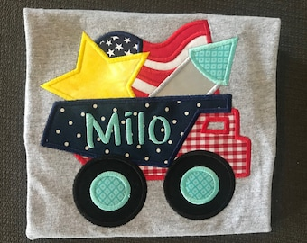 4th of July Boys Embroidered Shirt, Forth of July Truck Shirt, Personalized Stars and Stripes Truck Shirt, Independence Day Truck Shirt