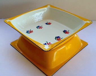 Vintage Square Enamel Soup Serving Cereal Bowls Yellow One with Flowers