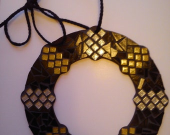 Mosaic Wreath Contemporary Geometric Pattern Hanging Home Accessory