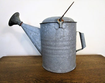 Vintage Galvanized Watering Can - Very Large Watering Can - Vintage Garden Shed Decor - Rustic Farmhouse Decor