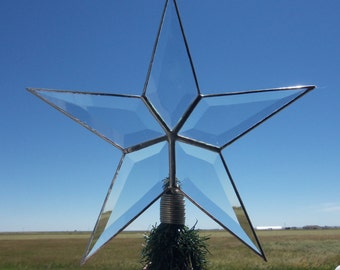 Classic, Simple Beveled Glass 5 Point Star, 10.5 Inch SILVER