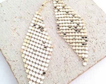 Disco Earring,Gold Disco Earring,Metallic Pixel Earring,Pixel Dangle Earring,Disco Dangle Earring,Diamond Disco Earring,Gold Disco Dangle