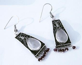 Earrings silver and moonstones