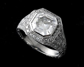 Asscher Moissanite Ring, Diamond Halo Engagement Ring, Forever One Moissanite Ring, Hand Engraved Platinum Ring, Antique Style Filigree Ring