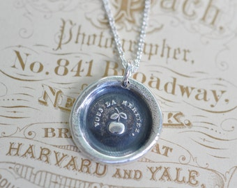 apple wax seal necklace pendant … the golden apple - you deserve it - French motto - congratulations gift - silver antique wax seal jewelry
