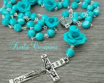 Rosario Religious girls women Catholic turquoise Tiffany rose Cute