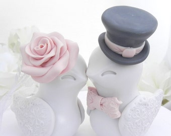 Love Birds Wedding Cake Topper, Ivory, Blush Pink and Charcoal Grey, Bride and Groom Keepsake, Fully Personalized