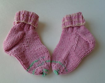 Hand knit cotton socks for baby girl