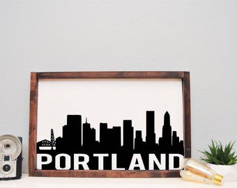 12 x 18 Wood Sign   Portland Skyline   Stained and Painted