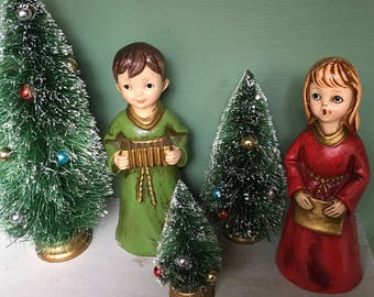 Bottle Brush Trees, Vintage Christmas, 1950s, Bottle Brush Tree, Set of 3, Christmas Trees, Christmas Village, Vintage Supplies, Putz Houses