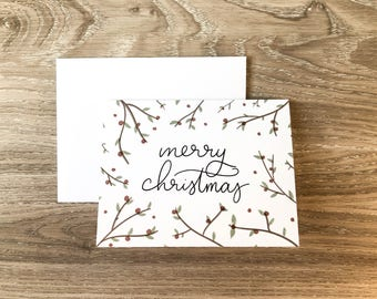 Merry Christmas Card   Greeting Card   Holiday Card     Xmas Card   A2 Card   Christmas Holly Card   Simple Christmas Card   Christmas Card