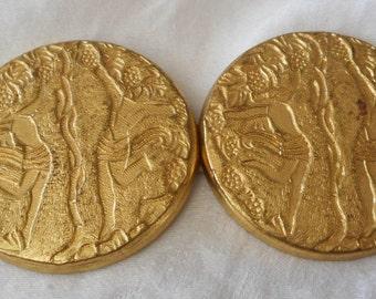 VINTAGE Texture Gold Metal 2 Piece Belt BUCKLE
