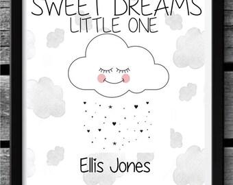 Sweet Dreams Little One - Personalised Nursery Print - Cloud Design