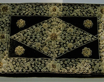 ART DECO CLUTCH bag embroided handle at back