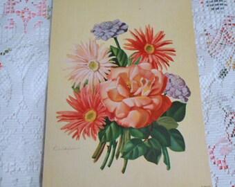 GERBERA DAISY & Cabbage ROSE Litho Print, Pastel Pinks Blue Pincushion Spring Bouquet, Original 1950s Signed Botanical Art, Barkcloth Era 1