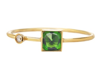 Rose Cut Ring, Diamond Ring, Chrome Diopside Ring, Gold Chrome Diopside Ring, Asymmetrical Ring, Ring, Cushion Cut, Green Stone, Nixin
