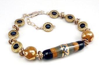 Gold Bead Bracelet, Fair Trade Jewelry, Adjustable Bracelet, Ceramic Bracelet, Ceramic Jewelry, One of a Kind, Trendy Jewelry, Smart Jewelry